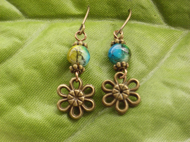 Flower charm earrings with blue green glass beads