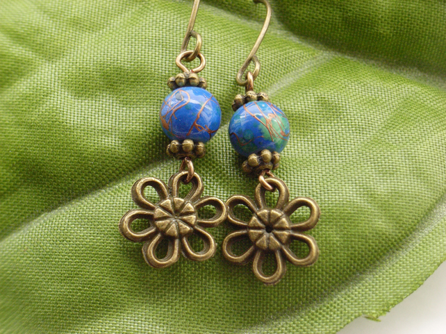 Flower charm earrings with lapis blue glass beads