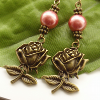 Rose and peach faux pearl earrings