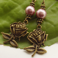 Rose and pale pink faux pearl earrings