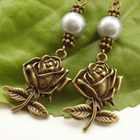 Rose and silver grey faux pearl earrings
