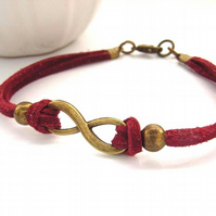 Infinity link red cord bracelelt