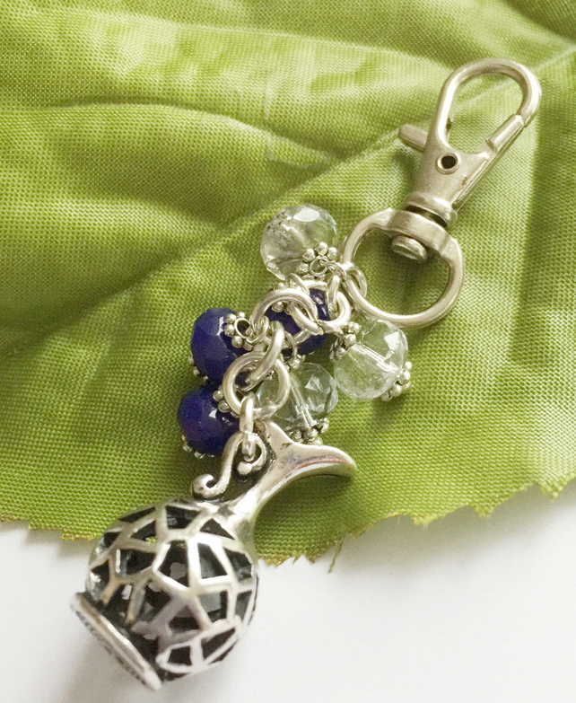Bag purse charm water jug with blue and clear crystals