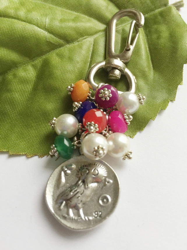 Owl and Athena ancient coin bag charm