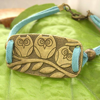 Bracelet owls with teal cord strap