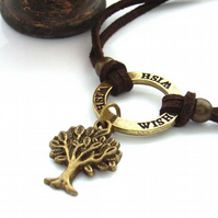 Bracelet stamped affirmation charm wish with tree of life in dark brown