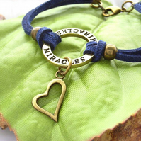 Bracelet stamped affirmation charm miracles with heart in navy blue