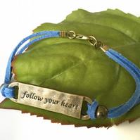 Follow your heart affirmation words charm bracelet on blue faux suede cord