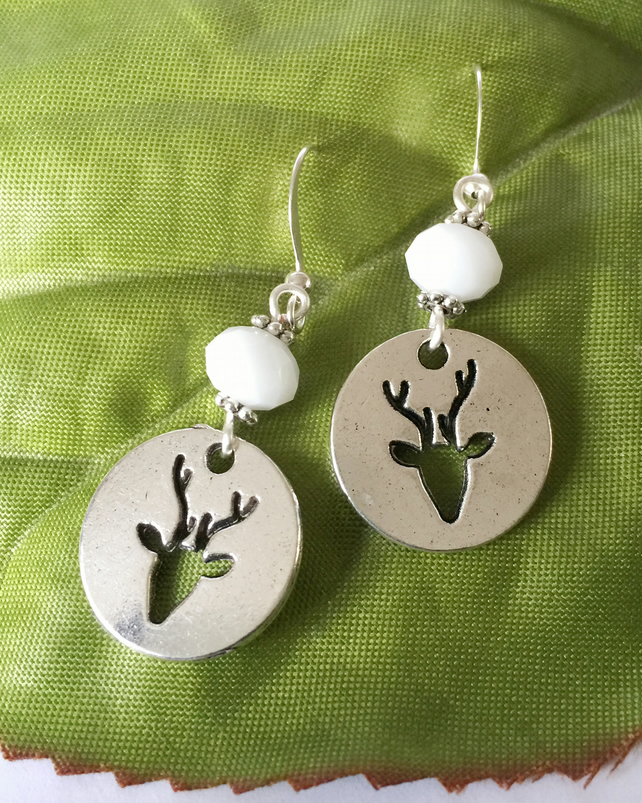 Stag deer reindeer bead charm silver tone earrings