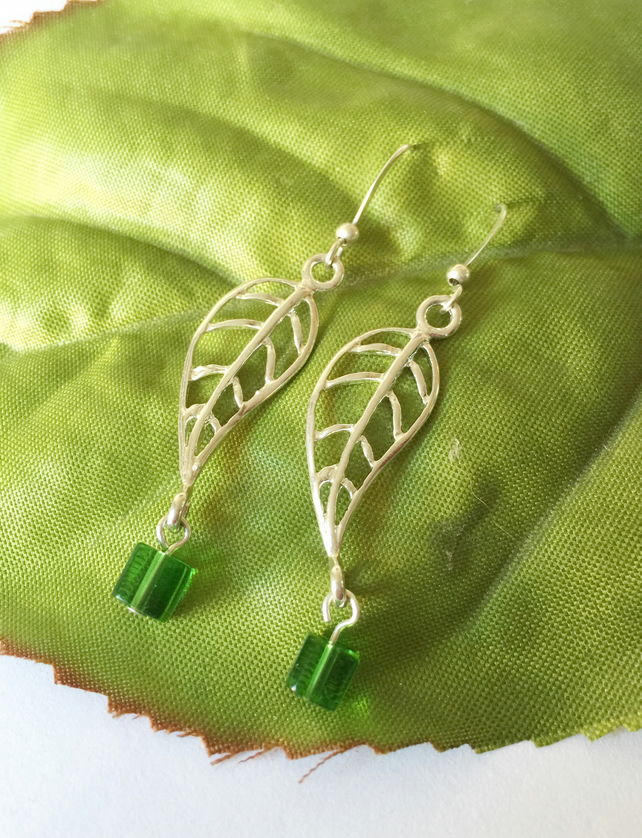 Leaf and green glass bead silver earrings