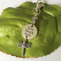 Stamped word Live Laugh Love dragonfly bag charm