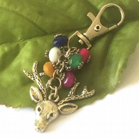 Deer and heart bag charm