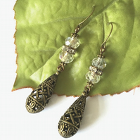 Steampunk filigree teardrop earrings