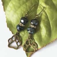 Steampunk style paw print earrings