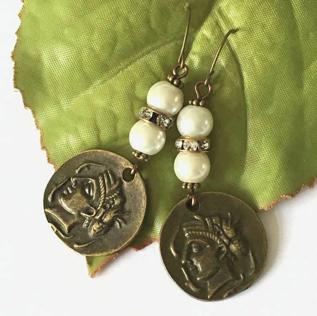 Coin and faux pearl crystal bronze earrings