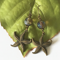 Starfish and faceted bead charm earrings