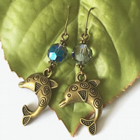 Bronze tone dolphin charm earrings