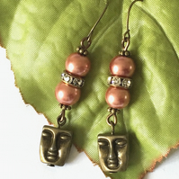 Bronze tone charm earrings