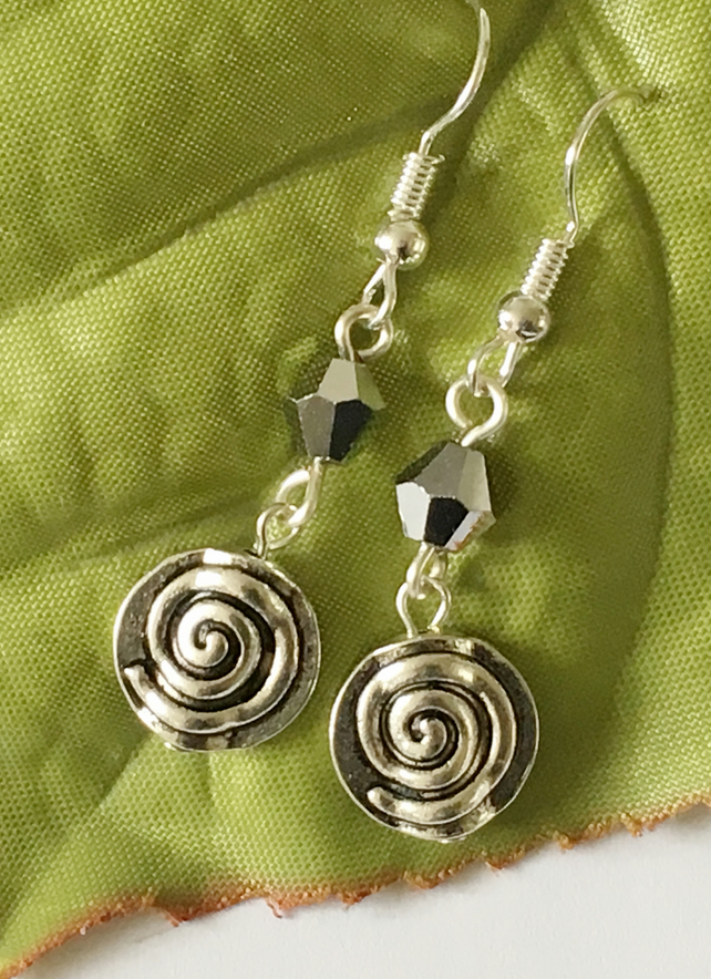 Ethnic style silver tone earrings