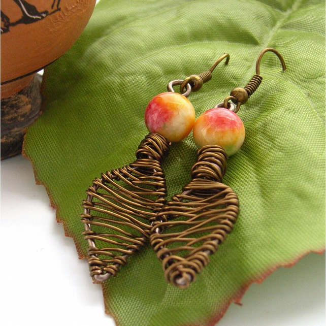 Autumn leaves Wire bead earrings