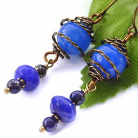 Gemstone earrings Blue agate, lapis lazulis and sapphire