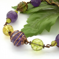 Amethyst and peridot wire work bracelet