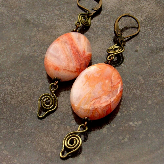 Gemstone earrings Bamboo agate and bronze wire