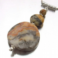 Gemstone pendant crazy lace agate sterling silver