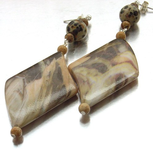 Animal print and dalmation jasper gemstone earrings