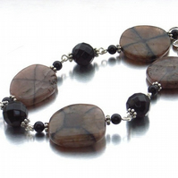 Gemstone bracelet chiastolite and onyx
