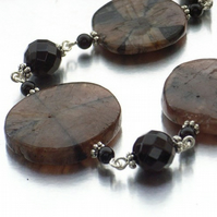 Chiastolite and onyx gemstone necklace