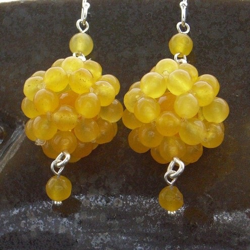 Yellow jade beaded gemstone earrings