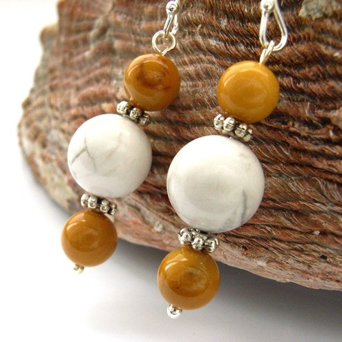 Yellow mookaite and howlite sterling silver earrings