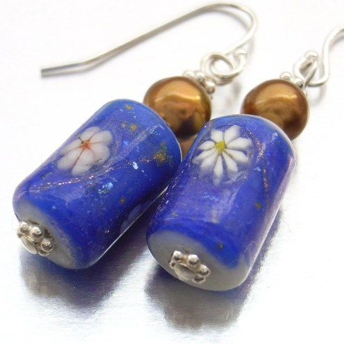 Pearl ceramic earrings