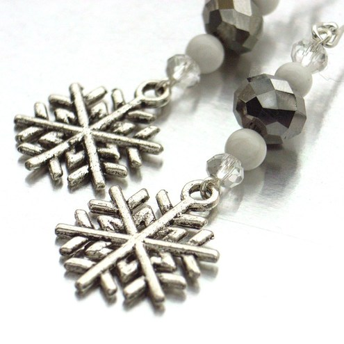Icy howlite, crystal and charm handmade earrings