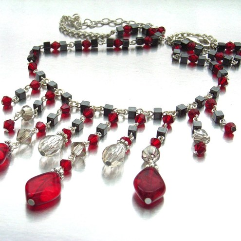 Gothic revival red glass necklace
