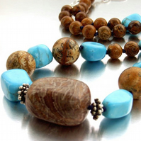 Jasper and howlite stone necklace