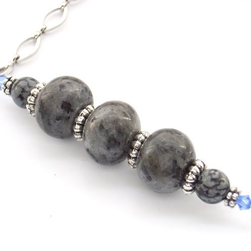 Shades of grey larvakite, obsidian and crystal necklace