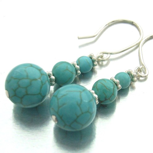 Just turquoise bead and sterling silver earrings