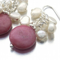 Pearl earrings bead coin pink
