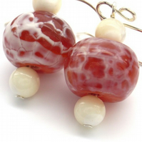 Handmade earrings frosted orange agate and mother of pearl