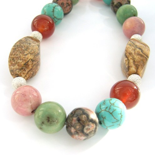 Colours semi precious stone turqoise, rhodonite, jasper and carnelian bracelet