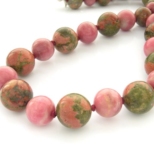 Unakite and rhodonite pink and grass green beaded necklace