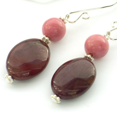 Pink Mookaite earrings for Macmillan Fundraising