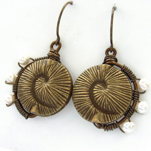 Earrings wire wrapped bronze freshwater pearl