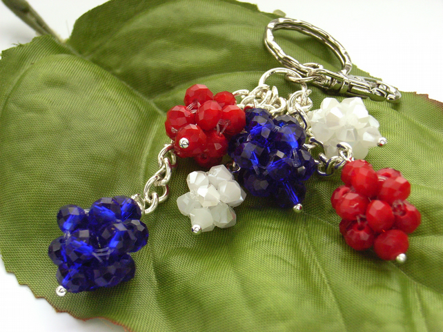 Red white and blue bag charm key ring
