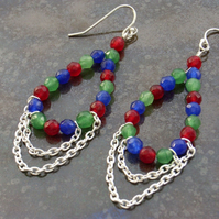 Gemstone earrings chandelier chain sterling silver