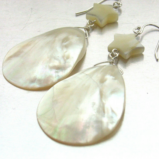 Shell stars and teardrop sterling silver earrings