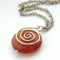 Swirl necklace red agate and chain