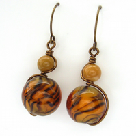 Earrings with animal print and mookaite beads